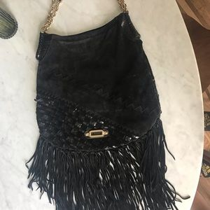 Jimmy choo kid suede and water snake black bag